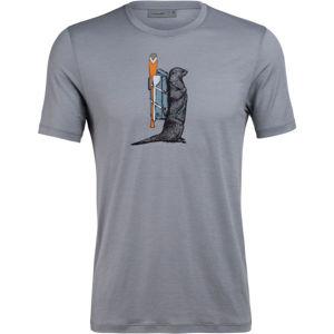 Icebreaker TECH LITE SS CREWE OTTER PADDLE  L - Pánské funkční tričko