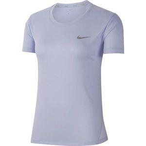 Nike MILER TOP SS fialová S - Dámské tričko