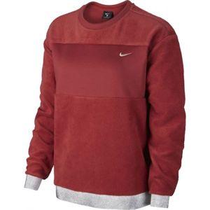 Nike ICON CLSH THEM FLC CREW vínová M - Dámská mikina
