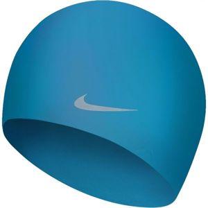 Nike SOLID SILICONE YOUTH modrá NS - Dětská plavecká čepice
