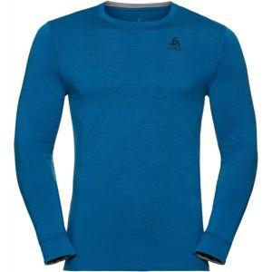 Odlo SUW TOP CREW NECK L/S NATURAL 100% MERINO modrá L - Pánské tričko s dlouhým rukávem