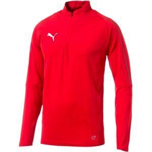Puma FINAL TRAINING 1/4 ZIP TOP červená S - Pánské sportovní triko