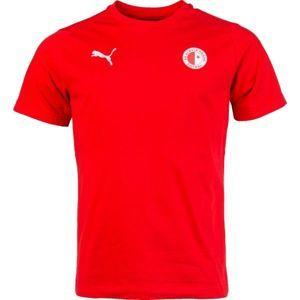 Puma LIGA CASUALS TEE SLAVIA červená S - Pánské sportovní triko