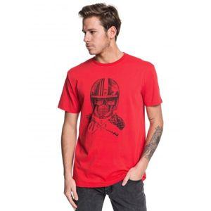 Quiksilver SKULL OPEN FACE SS červená M - Pánské tričko
