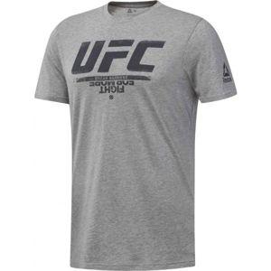 Reebok UFC FG LOGO TEE šedá S - Pánské tričko