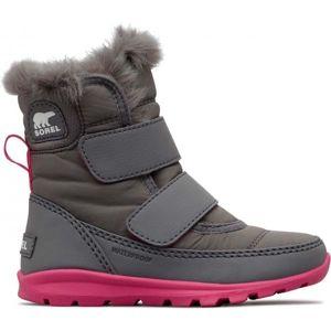 Sorel CHILDRENS WHITNEY VELCRO šedá 9 - Dívčí zimní boty