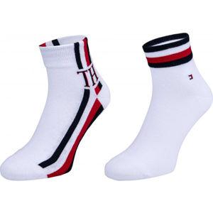 Tommy Hilfiger MEN QUARTER 2P ICONIC STRIPE bílá 43-46 - Pánské ponožky