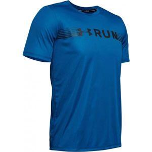 Under Armour RUN WARPED SHORTSLEEVE modrá XXL - Pánské tričko